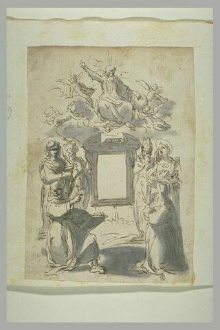 Saints et saintes auprès d'un tabernacle et de Dieu