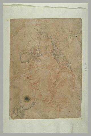 Etude d'un ange assis (un ange musicien ?), d'un bras et d'une main