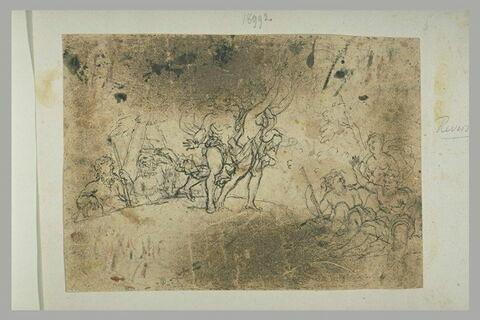 Daphné poursuivie par Apollon, se changeant en laurier