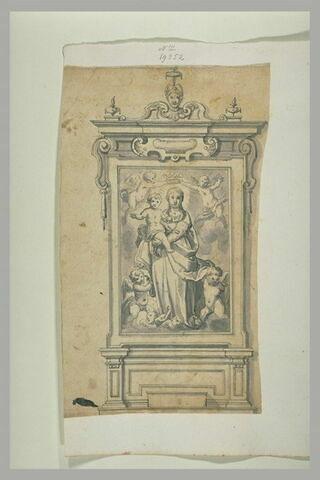 La Vierge à l'Enfant couronnée par des anges, pour un tableau d'église