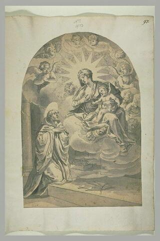 Apparition de la Vierge à l'Enfant à un religieux agenouillé