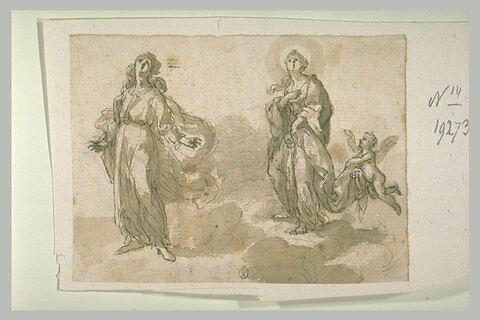 Deux saintes sur des nuages