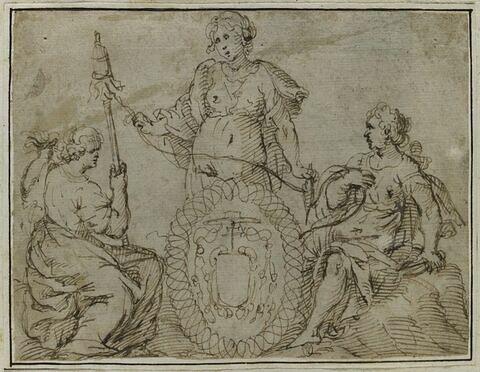 Les trois Parques entourant un cartouche aux armes d'un cardinal