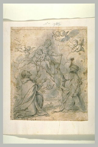 Un saint et une sainte reçevant un chapelet de la Vierge et de l'Enfant