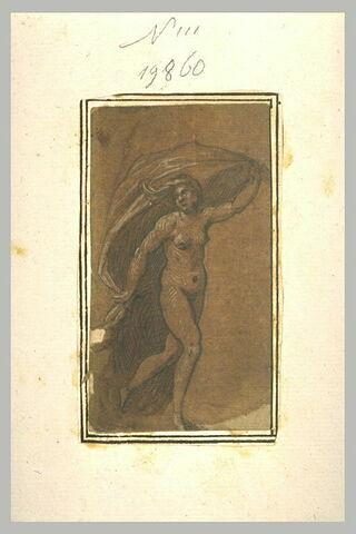 Femme nue, debout, tenant une draperie, s'avançant vers la droite