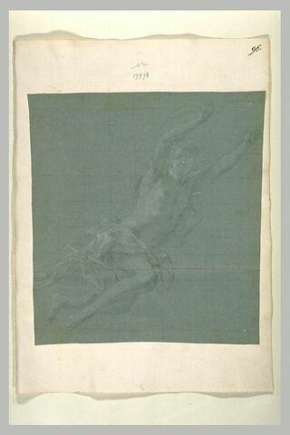 Un homme bras levés, suspendu dans les airs
