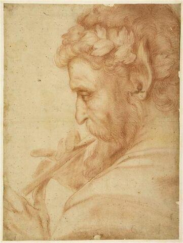 Faune, vu en buste, tourné vers la gauche, jouant de la flûte
