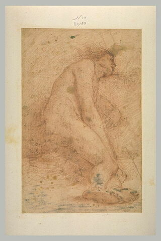 Homme nu, de profil vers la droite, étendu sur le côté