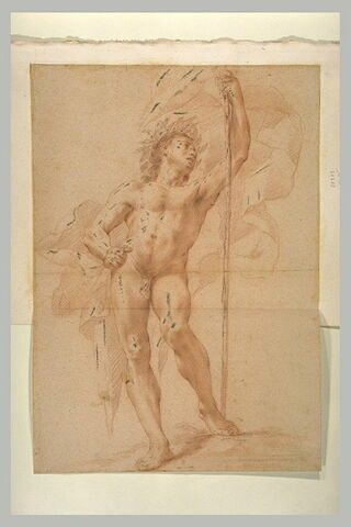 Homme nu, debout, couronné de feuillage, tenant un bâton