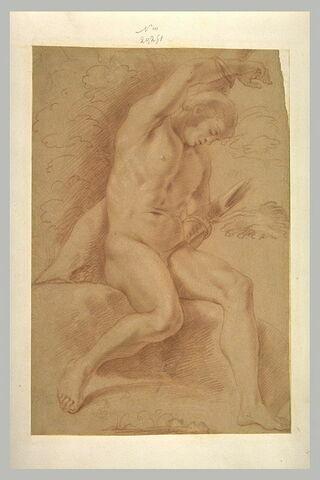 Homme nu, assis, attaché par les bras à un tronc d'arbre