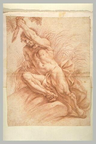 Homme nu, assissur des rochers, de face, saisissant une branche d'arbre