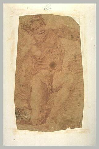 Homme nu, un genou à terre, de face, le regard levé