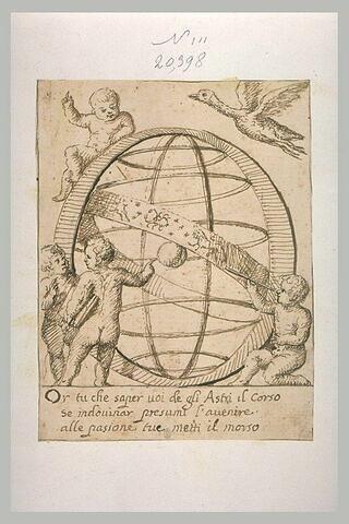 La lettre O ornée de quatre enfants avec les signes du Zodiaque