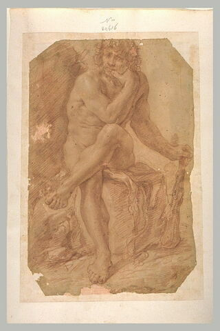 Hercule assis, jambes croisées