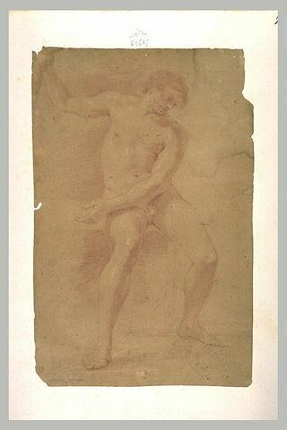 Homme nu, assis, de face, les bras vers la gauche