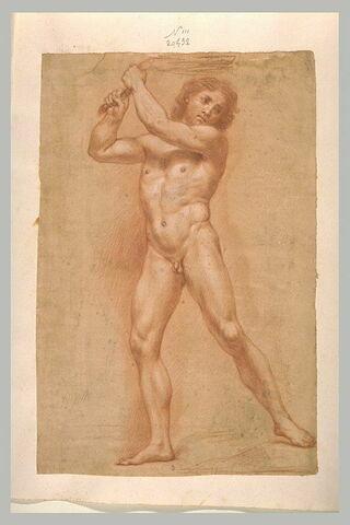Homme nu, debout, bras levés, tenant un fouet