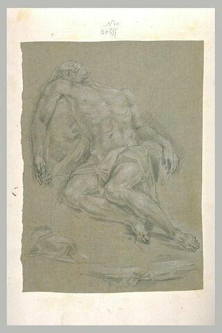Homme nu, à demi-allongé, reposant sur un rocher