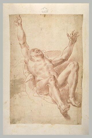 Homme nu, à demi allongé, bras écartés