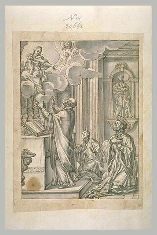 Apparition de la Vierge à l'Enfant à un prêtre et un saint