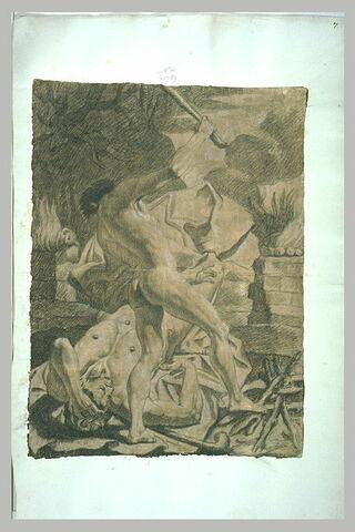 Homme nu terrassant son ennemi à l'aide d'une massue