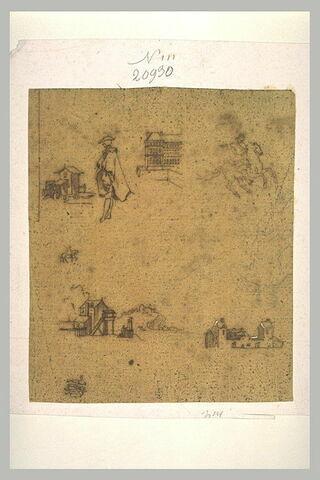Petites études : cavaliers, figures, quatre bâtiments, et une figure assise
