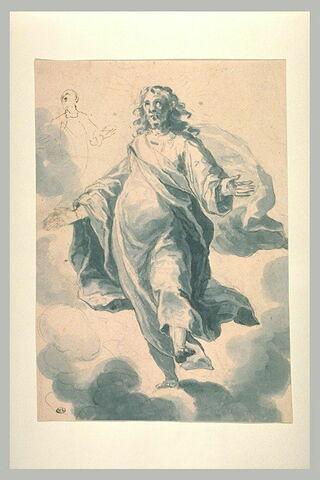 Le Christ debout sur des nuages, bras écartés, et petite silhouette