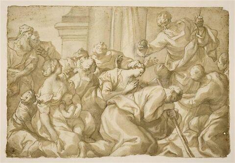 Hommes et femmes agenouillés devant un prédicateur