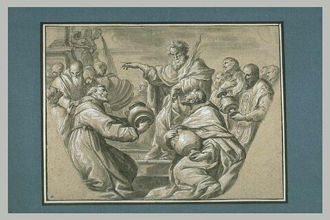 Dieu entouré de religieux, trois d'entre eux portent des vases