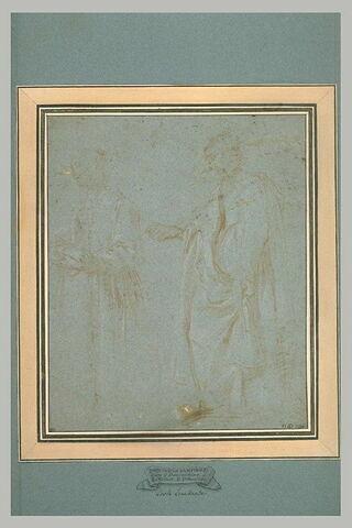 Deux femmes debout, drapées, tournées vers la gauche
