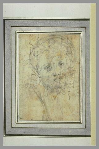 Tête d'homme, de face, regardant le spectateur : autoportrait