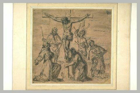 Saints adorant le Christ en croix