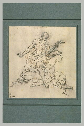 Saint Jérôme, tenant un crucifix, assis près d'un lion