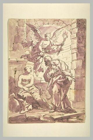 Saint Pierre, accompagné d'un ange, visite sainte Agathe dans sa prison