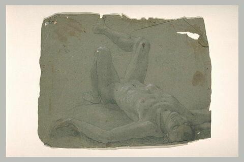 Un homme nu renversé sur le dos, bras écartés, jambe droite levée