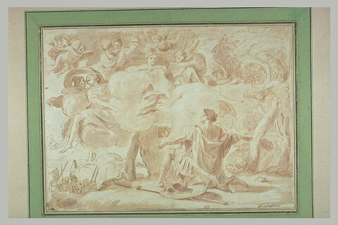 Guerrier à genoux devant Vénus sur des nuages