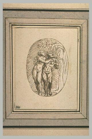 Adam et Eve près du serpent tentateur enroulé dans l'Arbre