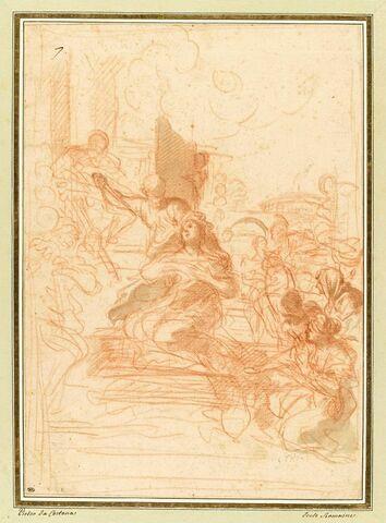 Martyre d'une sainte placée sur un bûcher