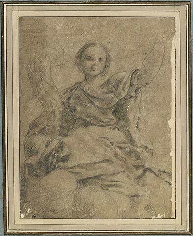 Figure d'une jeune femme drapée, de face, tenant une corne d'abondance