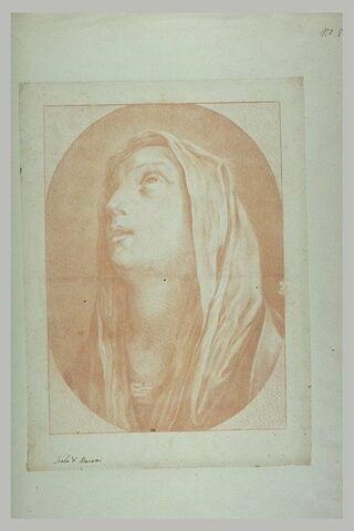 Tête de la Vierge, levant les yeux au ciel