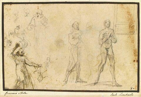 Etudes : deux saints debout, deux saints tenant un serpent, trois têtes