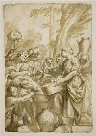 Rebecca à la fontaine, tendant la main à Eliezer