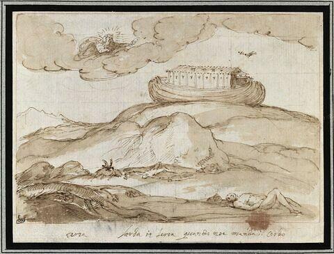L'arche de Noé flottant sur les eaux
