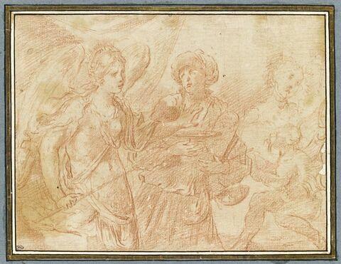 Jeune femme ailée refusant les présents d'une vieille femme et le diable
