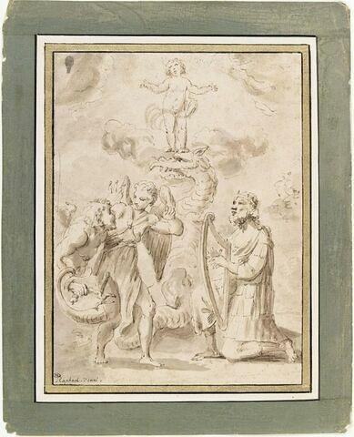 Allégorie avec David jouant de la harpe et l'Enfant piétinant le Démon