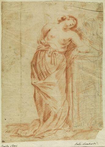 Femme demi-nue, vue de face, accoudée, la tête penchée à droite...