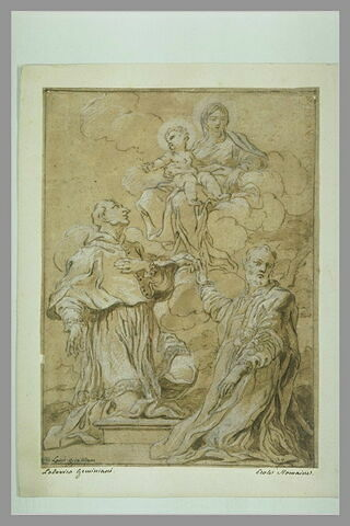 Deux saints en adoration devant la Vierge à l'Enfant