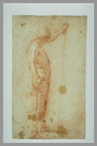 Etude d'une figure de jeune homme debout tenant un bâton