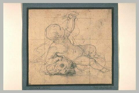 Etude d'un enfant couché sur un dauphin, le bras gauche levé