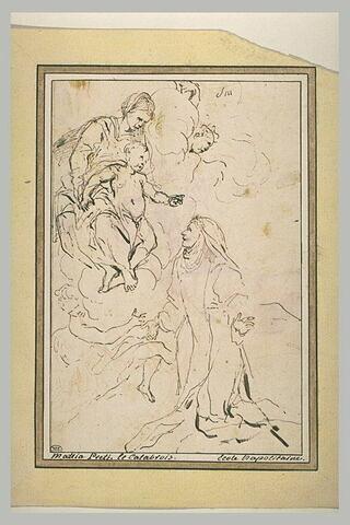 Sainte Thérèse à genoux devant la Vierge et l'Enfant