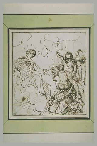 Le Christ soutenu par un ange à genoux devant la Vierge